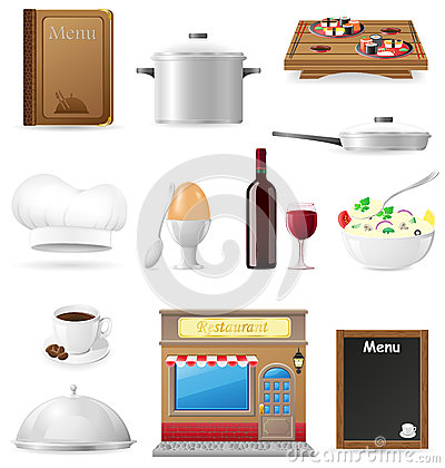 Set kitchen icons for restaurant cooking