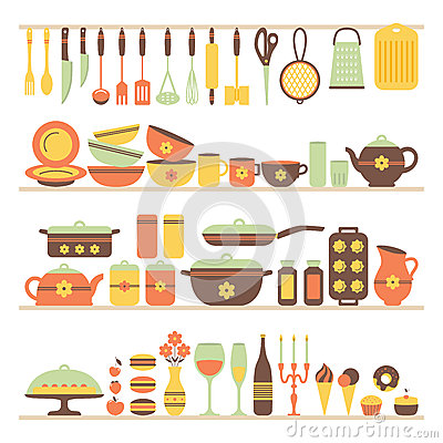 Set Of Kitchen Utensils And Food Stock Vector Image 50379121