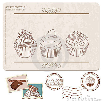 Set kleine Kuchen auf alter Postkarte, mit Stempeln