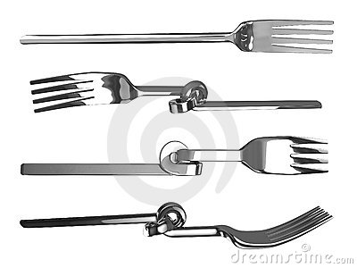 Set of knotted bent forks