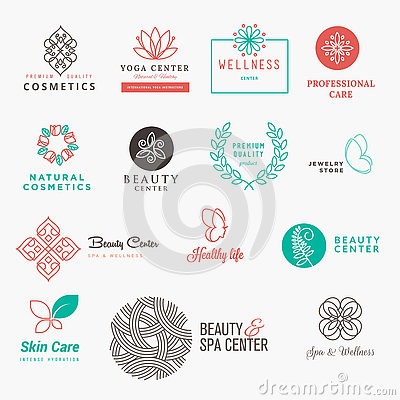 Set of labels and badges for beauty, cosmetics, spa and wellness Vector Illustration