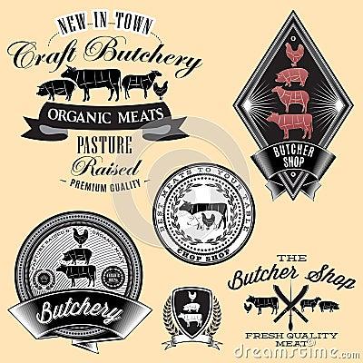 Set of labels for Butcher on brick wall Vector Illustration