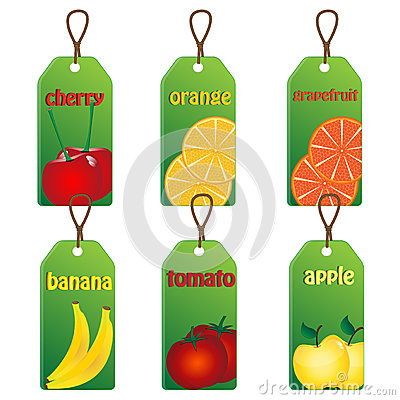 Set of labels with fruits and vegetables