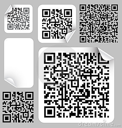 Set of labels with qr codes