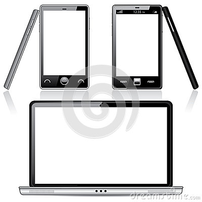 Set of Laptop and Smartphone with Blank Screens