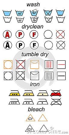Set of laundry symbols