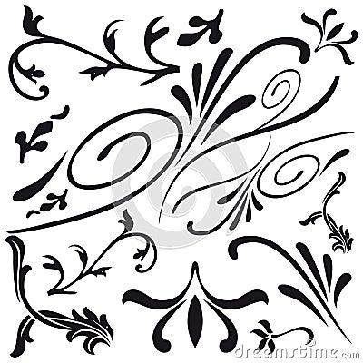 Set of leaf and flower design decorations