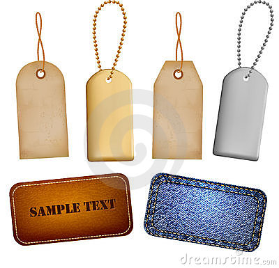 Set of leather and jeans labels and tags. Vector
