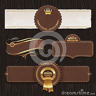 Set of leather vintage framed labels