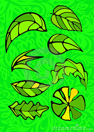 Set of leaves. Stained glass style.