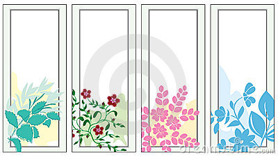 Set of  light banners with flora - vector