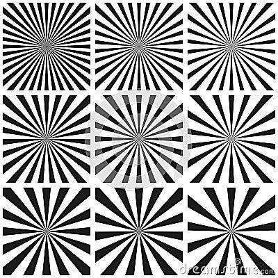 Free Set Light Ray Pattern, Sun Burst Retro Pattern, Vector Template, Pop Art Background, Circular Beam Sunburst Vintage Sunrise Stock Photography - 99291242