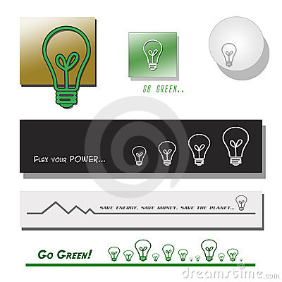 Set of Lightbulb Banners and Symbols