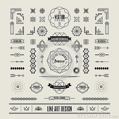 Set of linear thin line art deco retro vintage design frame border Vector Illustration