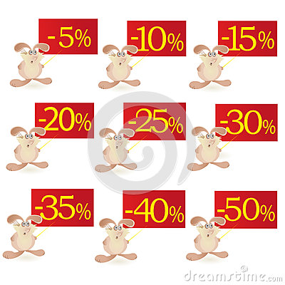 Set of little funny Rabbits  with discount boards
