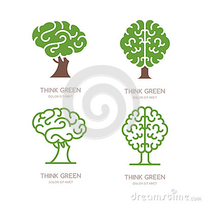 Set of logo, icon, emblem design with brain tree. Think green, eco, save earth and environmental concept. Vector Illustration