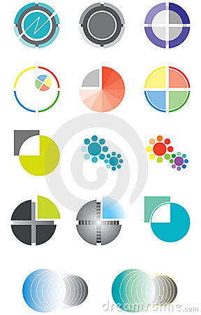 Set of logos on the basis of a circle