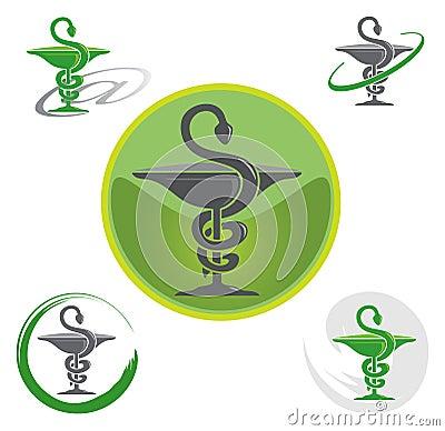 Set of Logos with Caduceus Symbol
