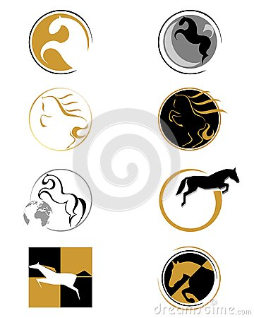 Set of logos with a horse