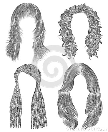 Free Set Long Woman Hairs . Black  Pencil Drawing Sketch .   Fashion Beauty Style. African Cornrows   Fringe Curls Cascade. Stock Images - 89020344