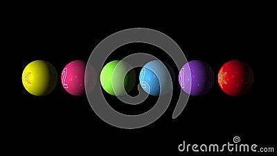 Set Looping animação realista das Bolas multicoloridas de Natal e Ano Novo com um floco de neve dourado e texto 2020 video estoque