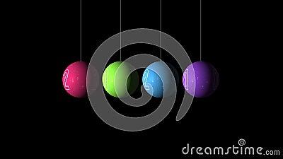 Set Looping animação realista das Bolas multicoloridas de Natal e Ano Novo e texto 2020 Rodar decoração em filme