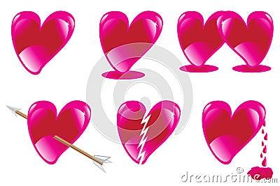 Set of love heart shaped.