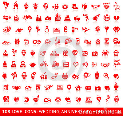 Free Set Love Red Icons Stock Image - 38219111