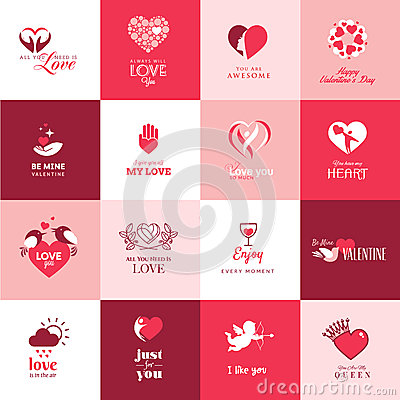 Set of love and romantic icons for Valentines day