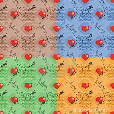 Set of love seamless pattern
