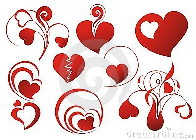 Set of loving hearts