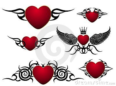 Set of loving hearts,tattoo design