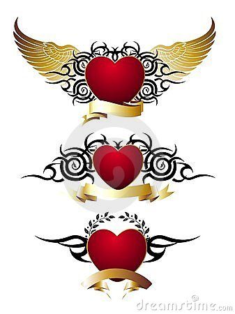 Set of loving red hearts,tattoo design