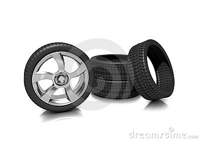 A set of Low profile tyres