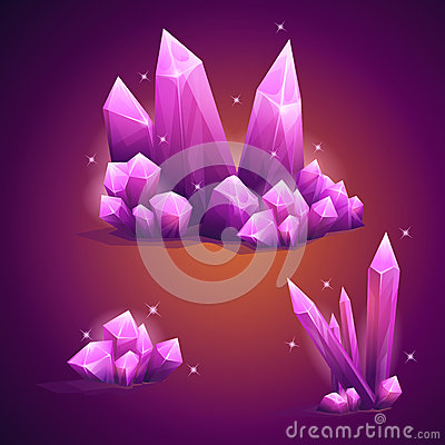 Free Set Magical Crystals Of Various Shapes Royalty Free Stock Photography - 53976377