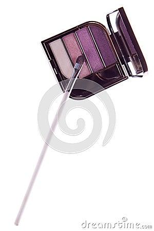 A set of makeup, eye shadow brush