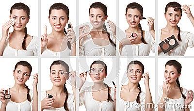 Set of makeup images