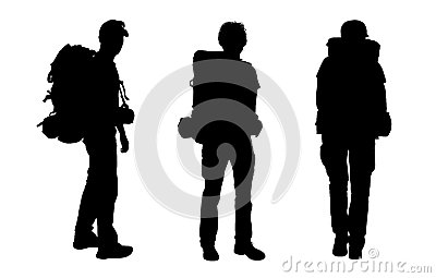 Set of male backpacker silhouettes