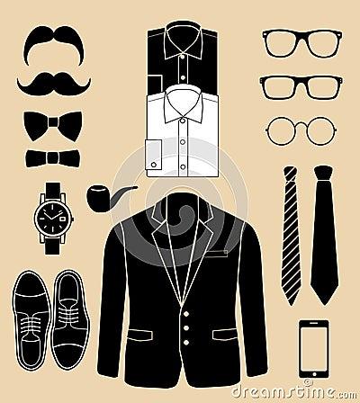 Set of man fashion elements. vector illustration