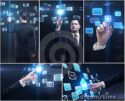 Set of man pushing a button on a touch screen