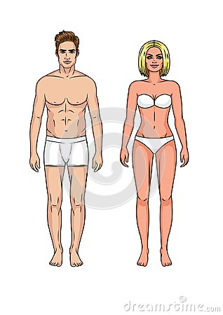 Set of man and woman in underwear Stock Photo