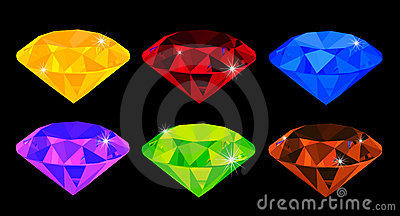 Set of many-coloured gems