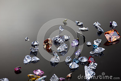 Set of many different gemstone
