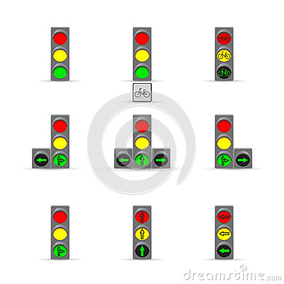 Set of many Traffic lights