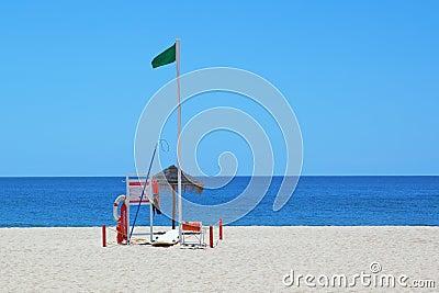 A set of marine equipment lifeguard at the beach.