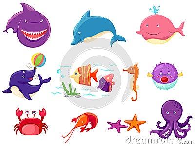 Set of marine life