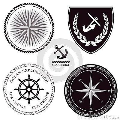Set of maritime symbols