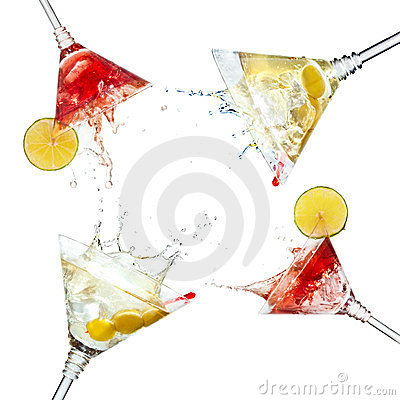 Set of martini cocktails with splash and lime