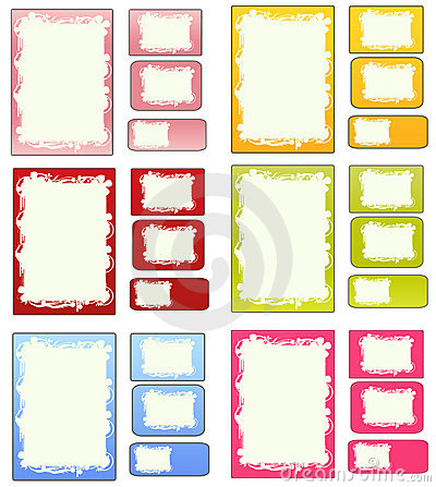 Set of matching papers cards and labels