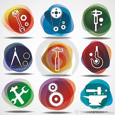 Set of mechanical  icons.